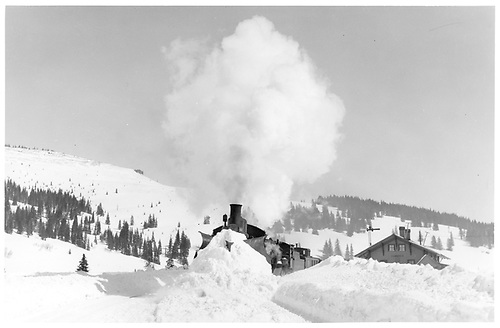 D&amp;RGW #464 and #486 with wedge plow at Cumbres station with Neff Mountain in backgroun.<br /> D&amp;RGW  Cumbres Pass, CO  ca 1930
