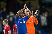 Charly Musonda & Goalkeeper Wilfredo Caballero of Chelsea apple the supporters after the Carabao Cup (Football League cup) 23rd round match between Chelsea and Nottingham Forest at Stamford Bridge, London, England on 20 September 2017. Photo by Andy Rowland.
