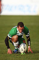 Manawatu first five Aaron Cruden prepares to take a kick during the Air NZ Cup rugby match between Manawatu Turbos and Counties-Manukau Steelers at FMG Stadium, Palmerston North, New Zealand on Sunday, 2 August 2009. Photo: Dave Lintott / lintottphoto.co.nz