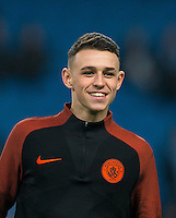 Phil Foden of Manchester City before the UEFA Champions League GROUP match between Manchester City and Celtic at the Etihad Stadium, Manchester, England on 6 December 2016. Photo by Andy Rowland.