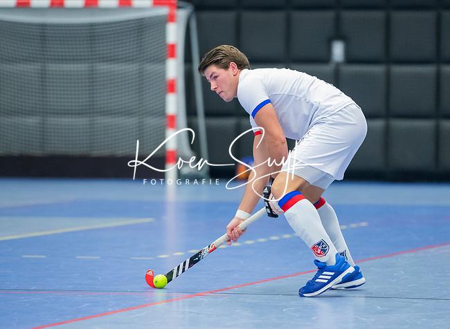 ROTTERDAM  - NK Zaalhockey,   halve finale heren Oranje Rood-SCHC (SCHC wint en plaatst zich voor de finale)  Thomas Vis (SCHC)     COPYRIGHT KOEN SUYK
