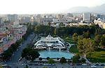 Tirana/Tirane-Albania - August 01, 2004---Partial view of Tirana, capital city of Albania, from the center towards North; infrastructure---Photo: © HorstWagner.eu