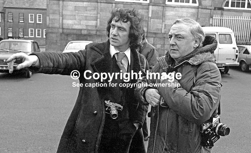 Milton Haworth, staff photographer, Daily Express, left, and Eric Shaw, staff photographer, PA, Press Association, UK, photographed in the Square, Hillsborough, N Ireland, during a Royal Visit by Prince Richard, Duke of Gloucester. 197702160015a.<br />