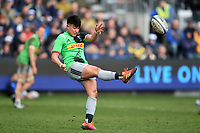 Marcus Smith of Harlequins puts boot to ball. Gallagher Premiership match, between Bath Rugby and Harlequins on March 2, 2019 at the Recreation Ground in Bath, England. Photo by: Patrick Khachfe / Onside Images