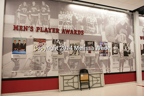 Upstairs concourse. - Harvard University celebrated the official opening of the newly renovated Bright-Landry Hockey Center on Saturday, November 1, 2014,  in Cambridge, Massachusetts.