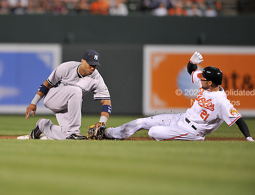 Baltimore, MD - September 1, 2009 -- New York Yankees second baseman Robinson Cano (24) tries to tag Baltimore Oriole right fielder Nick Markakis (21) at second in the third inning at Oriole Park at Camden Yards in Baltimore, MD on Tuesday, September 1, 2009.  Markakis was credited with a steal on the play.Credit: Ron Sachs / CNP.(RESTRICTION: NO New York or New Jersey Newspapers or newspapers within a 75 mile radius of New York City)