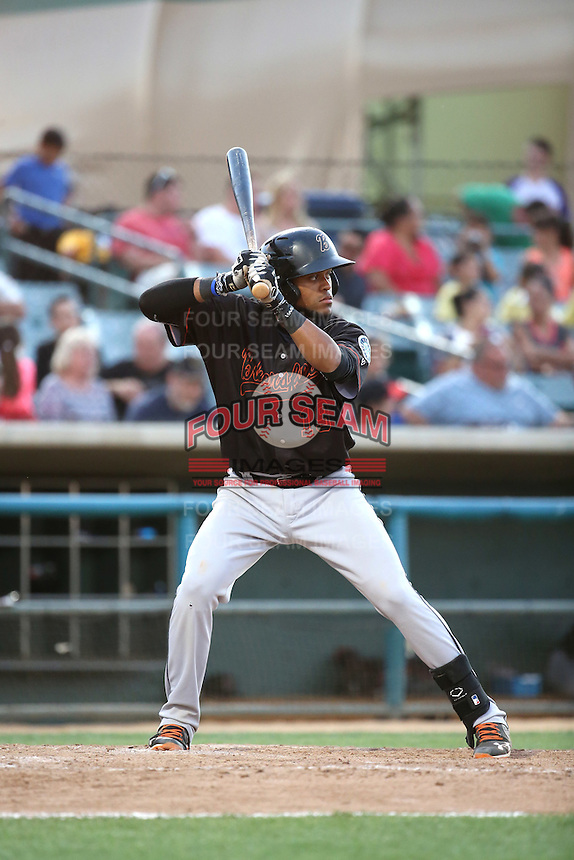 Gianfranco Wawoe (19) of the Bakersfield Blaze bats against the Lancaster JetHawks at The Hanger on June 18, 2016 in Lancaster, California. Bakersfield defeated Lancaster, 10-7. (Larry Goren/Four Seam Images)