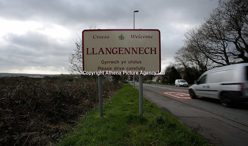 Pictured: A Llangennech sign on the B4297 Pontardulais Road, west Wales. Thursday 24 February 2017<br />Re: Plans to convert Llangennech Junior School, a bilingual school to one teaching only welsh, has caused a bitter row between campaigners and politicians in Carmarthenshire, Wales, UK.