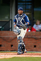 Mobile BayBears catcher Rossmel Perez #14 during a game against the Pensacola Blue Wahoos on April 14, 2013 at Hank Aaron Stadium in Mobile, Alabama.  Mobile defeated Pensacola 5-2.  (Mike Janes/Four Seam Images)