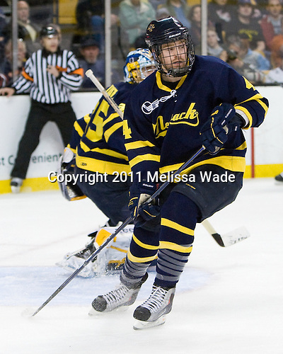 Jordan Heywood (Merrimack - 4) - The Merrimack College Warriors defeated the University of New Hampshire Wildcats 4-1 in their Hockey East Semi-Final on Friday, March 18, 2011, at TD Garden in Boston, Massachusetts.