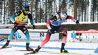 March 14th 2020, Kontiolahti, Finland;  Martin Fourcade of France and Johannes Thingnes Boe of Norway compete during the mens 12.5 km Pursuit competition at the IBU Biathlon World Cup in Kontiolahti, Finland, on March 14, 2020.