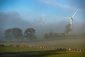 04/12/18<br /> <br /> Wind turbines are shrouded in early morning mist near Carsington, Derbyshire.  (The tower from an ancient disused windmill can be seen to the right).<br /> <br /> <br /> All Rights Reserved: F Stop Press Ltd. +44(0)7765 242650  www.fstoppress.com www.rkpphotography.co.uk