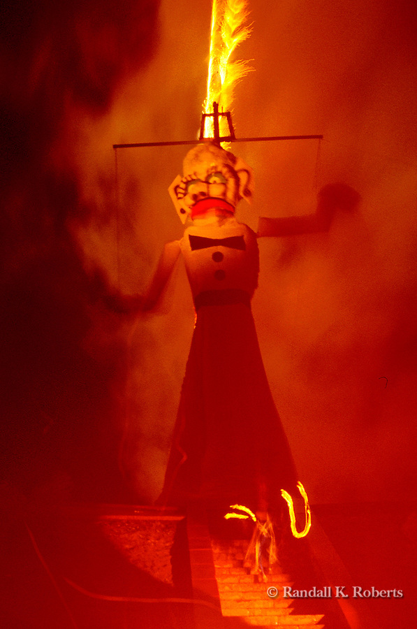 Zozobra, aka Old Man Gloom, burns as part of the Santa Fe Fiesta, Santa Fe, New Mexico