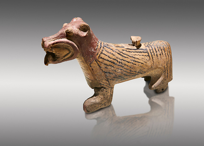 Hittite Terra cotta lion shaped ritual vessel - 16th century BC - Hattusa ( Bogazkoy ) - Museum of Anatolian Civilisations, Ankara, Turkey . Against gray background