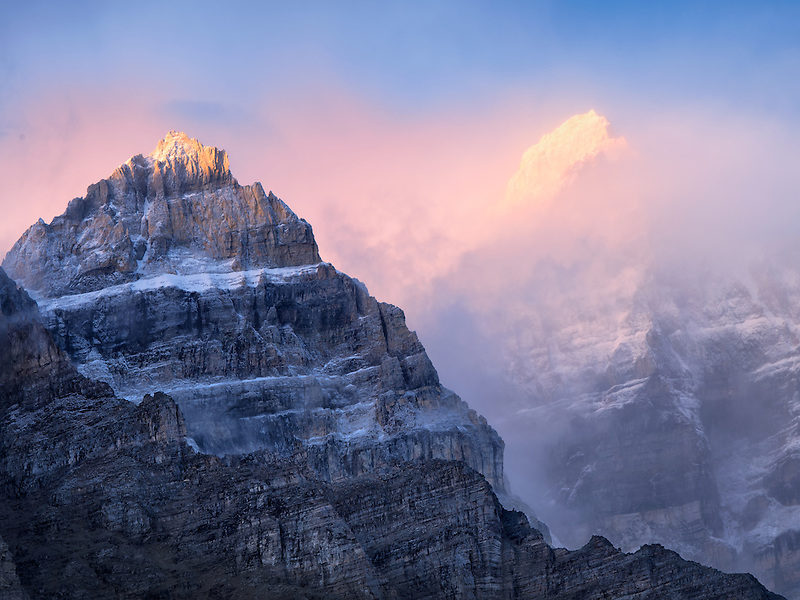 Early morning sunrise on peaks around Moraine Lake. Banff National Park. Alberta Canada.