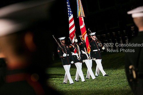The Marine Barracks Washington, D.C. Evening Parade in Washington, D.C., on Friday, June 27, 2014. <br /> Credit: Kristoffer Tripplaar  / Pool via CNP