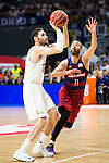 Real Madrid's player Rudy Fernandez and Barcelona's player Juan Carlos Navarro during Liga Endesa 2015/2016 Finals 4th leg match at Barclaycard Center in Madrid. June 20, 2016. (ALTERPHOTOS/BorjaB.Hojas)