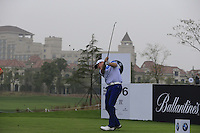 Jamie Donaldson (WAL) tees off the 6th tee during Saturay's Round 3 of the 2014 BMW Masters held at Lake Malaren, Shanghai, China. 1st November 2014.<br /> Picture: Eoin Clarke www.golffile.ie