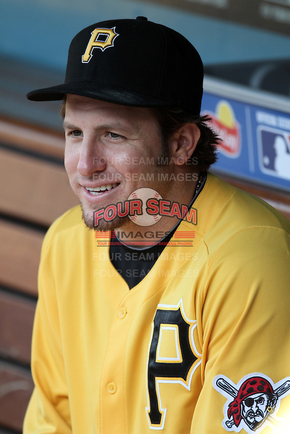 Pittsburgh Pirates pitcher Daniel Moskos #57 before a game against the Los Angeles Dodgers at Dodger Stadium on September 17, 2011 in Los Angeles,California. Los Angeles defeated Pittsburgh 6-1.(Larry Goren/Four Seam Images)