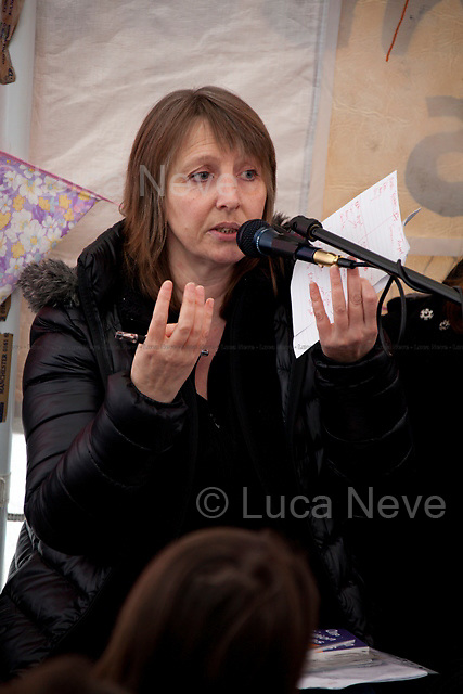 Suzanne Jeffrey (Campaign against Climate Change Trade Union Group).<br /> <br /> London, 05/02/2012. Occupy LSX organised a meeting at St Paul's camp &quot;University Tent&quot; to discuss climate change and how this global phenomenon is  threatening the future of millions of people across the globe. Speakers included: Asad Rehman (campaigner for Friends of the Earth International), George Monbiot (Activist and journalist), Helena Paul (EcoNexus), Claire Morris (Youth Climate Alliance), Shahrar Ali (Green Party), Suzanne Jeffrey (Campaign against Climate Change Trade Union Group), George Barda (Peace campaigner and Greenpeace activist).