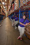 As part of the H.E.A.R.T. partnership with HISD, 17 high school students with disabilities are working and learning on the job at the Houston Food Bank. The students lead a tour of the huge warehouse full of food.
