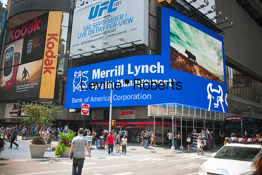 The new Bank of America illuminated sign promotes their Merrill Lynch brokerage, in Times Square on Friday, August 17, 2012. (© Richard B. Levine)