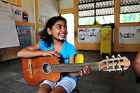 'Music for Hope' project..Members of the group attending music classes and rehearsals, led by music teacher, Eneida Amaya,.Based in Amanda Lopez...17.5.11.Part of the 'Music for Hope' project,.Nueva Esperanza, Bajo Lempa.San Salvador.El Salvador.
