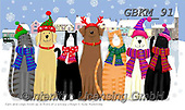 Kate, CHRISTMAS ANIMALS, WEIHNACHTEN TIERE, NAVIDAD ANIMALES, paintings+++++cats and dogs in snowy village 1,GBKM91,#xa# ,dog,dogs ,cat,cats