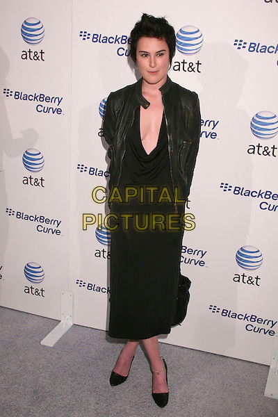 RUMER WILLIS.AT&T's BlackBerry Curve Launch Party at the Beverly Wilshire Hotel, Beverly Hills, California, USA,.31 May 2007..full length black dress shoes leather biker jacket.CAP/ADM/BP.©Byron Purvis/AdMedia/Capital Pictures.