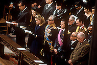 Washington National Cathedral - March 31, 1969. Right to left: French President Charles de Gaulle, President of Tunisia Habib Bourguiba, King Baudouin of Belgium, Mohammad Reza Pahlavi the Shah of Iran, Tricia Nixon, Patricia Nixon and Richard Nixon at the funeral procession of former U.S. President Dwight Eisenhower. He (October 14, 1890 - March 28, 1969) was the 34th President of the United States from 1953 until 1961, was a five-star general in the United States Army during World War II and was the first supreme commander of NATO.