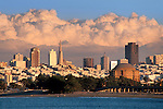 Storm clouds over San Francisco city skyline, California