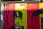 "Audrey Hepburn mural ""Breakfast at Ixelles"" on the street where she was born, Rue Keyenveld, Ixelles, Brussels, Belgium"