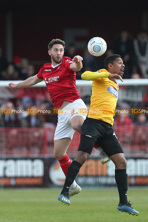 Dean Rance of Ebbsfleet and Angelo Balanta of Dagenham and Redbridge and during Ebbsfleet United vs Dagenham & Redbridge, Vanarama National League Football at The Kuflink Stadium on 13th April 2019