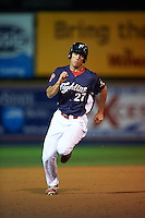 Reading Fightin Phils outfielder Cam Perkins (27) running the bases during a game against the New Britain Rock Cats on August 7, 2015 at FirstEnergy Stadium in Reading, Pennsylvania.  Reading defeated New Britain 4-3 in ten innings.  (Mike Janes/Four Seam Images)
