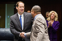 TALLAHASSEE, FLA. 5/3/13-SESSIONEND050313CH-Sen. Joe Negron, R-Stuart, left, is congratulated by Sen. Christopher Smith, D-Fort Lauderdale, after the budget passed the Senate during the final day of the legislative session May 3, 2013 at the Capitol in Tallahassee...COLIN HACKLEY PHOTO