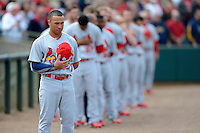 St. Louis Cardinals second baseman Kolten Wong #79 and teammates line up for the national anthem before a Spring Training game against the Houston Astros at Osceola County Stadium on March 1, 2013 in Kissimmee, Florida.  The game ended in a tie at 8-8.  (Mike Janes/Four Seam Images)