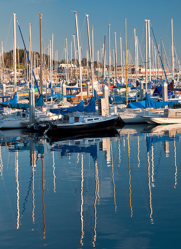 Sailboats in harbor. Fishermans Warf. Monterey Bay, Californmia