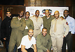 Guiding Light's Lawrence Saint-Victor stars with L to R Ryan, David Roberts, Ananias Dixon, Thom Scott II, Melvin Huffnagle, Thadius Dainiels & Delano Barbosa, Layon Gray (front) as they star in Black Angels Over Tuskegee on January 24, 2011 at the Actors Temple Theatre, New York City, New York. (Photo by Sue Coflin/Max Photos)