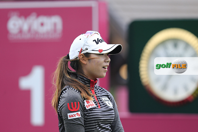 Mi Hyang Lee (KOR) tees off the 1st tee to start her match during Sunday's Final Round of the LPGA 2015 Evian Championship, held at the Evian Resort Golf Club, Evian les Bains, France. 13th September 2015.<br /> Picture Eoin Clarke | Golffile