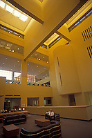 Interior atrium of the San Antonio Central Library building designed by Mexican architect Ricardo Legorreta, San Antonio, Texas