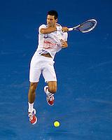 NOVAK DJOKOVIC (SRB) against RAFAEL NADAL (ESP) in the FINAL of the Men's Singles. Novak Djokovic Beat Rafael Nadal 5-7 6-4 6-2 6-7 7-5..29/01/2012, 29th January 2012, 29.01.2012 - Day 14..The Australian Open, Melbourne Park, Melbourne,Victoria, Australia.@AMN IMAGES, Frey, Advantage Media Network, 30, Cleveland Street, London, W1T 4JD .Tel - +44 208 947 0100..email - mfrey@advantagemedianet.com..www.amnimages.photoshelter.com.
