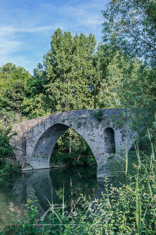 Spain, Pamplona, Magdelena Bridge on the Camino de Santiago Over the Rio Arga