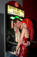 April 24 2003, Montreal, Quebec, Canada<br /> <br /> Steven Turpin (L) and Karen Simpson (R) pose with the poster from the movie SAVED BY THE BELLES, in which they both act,<br /> on the movie opening night  april 24, 2003<br />  in Montreal, Canada.<br /> <br /> NO MODEL RELEASE - Editorial related to this event only<br /> <br /> Mandatory Credit: Photo by Pierre Roussel- Images Distribution. (©) Copyright 2003 by Pierre Roussel <br /> <br /> NOTE : <br />  Nikon D-1 jpeg opened with Qimage icc profile, saved in Adobe 1998 RGB<br /> .Uncompressed  Original  size  file availble on request.