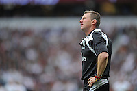 Referee Nigel Owens watches a replay on the big screen. QBE International match between England and Ireland on September 5, 2015 at Twickenham Stadium in London, England. Photo by: Patrick Khachfe / Onside Images