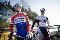 Dutch National Champion Lars Van der Haar (NLD/Giant-Shimano) &amp; prodigy Mathieu Vanderpoel (NLD/BKCP-Powerplus) wait for the women's race to finish to start their recon<br /> <br /> Superprestige Francorchamps 2014
