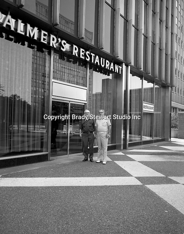 Pittsburgh PA:  View of the exterior of Palmer's Restaurant at Four Gateway Center - 1970