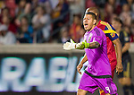 Real Salt Lake goalkeeper Nick Rimando (18) reacts to a goal attempt by the Philadelphia Union in the first half Saturday, March 14, 2015, during the Major League Soccer game at Rio Tiinto Stadium in Sandy, Utah. (© 2015 Douglas C. Pizac)