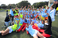 The Ngati Porou teams pose for a group photo during the 2017 Hurricanes Secondary Schools Under-15 Girls' Rugby Tournament at Wakefield Park in Wellington, New Zealand on Tuesday, 5 September 2017. Photo: Dave Lintott / lintottphoto.co.nz