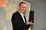 Current Champion Christopher Froome (GBR) is awarded the Velo d&quot;Or Mondial prize at the Tour de France 2018 route presentation held at Palais de Congress, Paris, France. 17th October 2017.<br /> Picture: ASO/Bruno Bade | Cyclefile<br /> <br /> <br /> All photos usage must carry mandatory copyright credit (&copy; Cyclefile | ASO/Bruno Bade)