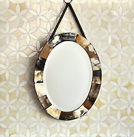 Fiona, a waterjet mosaic shown in Moonstone and Quartz jewel glass, is part of the Silk Road® collection by New Ravenna.